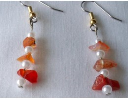Carnelian Agate & Pearl earrings