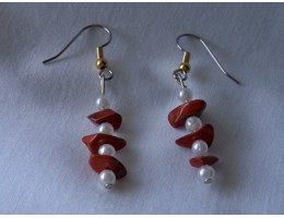 Red Jasper & Pearl earrings