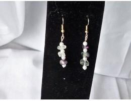 Rainbow Fluorite & Pearl earrings