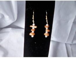 Red Aventurine & Pearl earrings