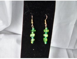 Green Dyed Agate & Green AB Bead earrings