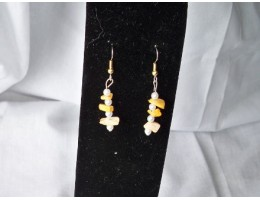 Crazy Agate & Pearl earrings