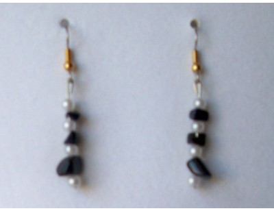 Blue Goldstone & Pearl earrings