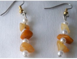 Yellow Jade & Pearl earrings