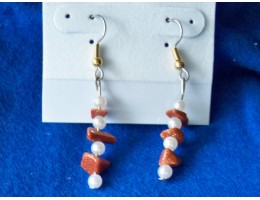 Goldstone & Pearl earrings