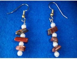 Red Tiger Eye & Pearl earrings