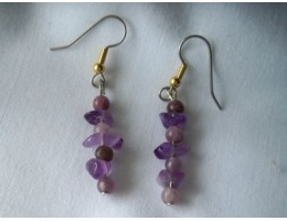 Amethyst Chip & Bead earrings