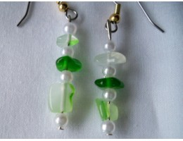 Green Dyed Agate & Pearl earrings