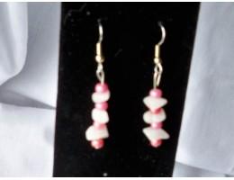 White Aventurine & Pink Pearl Bead earrings