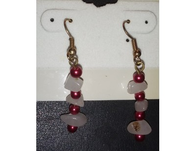 White Aventurine & Red Pearl earrings
