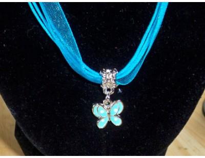 Organza Ribbon & Charm Necklace