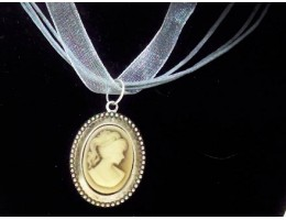 Organza Ribbon Necklace with Cameo