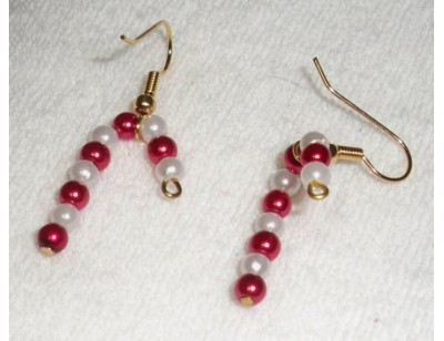 Pearl Candy Cane earrings - red and white