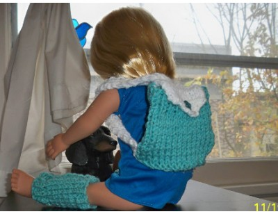 Knit Leg Warmers and Matching Backpack for 18-inch Doll